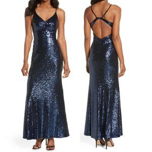 NWT! Morgan & Co. Sz 5/6 Keyhole Back Sequin Gown